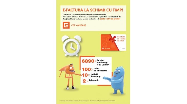 Cu E-factura CEZ Vanzare salvezi timp si castigi garantat un premiu